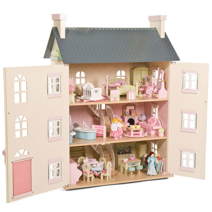 This enchanting dolls house from Le Toy Van is sure to dazzle your little one. Cherry Tree hall is a grand four story cream mansio