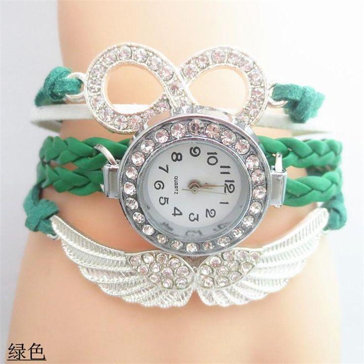 NEW Women Paracord Watch Women Crystal Bracelet Angel Wings Charm Rhinestone Blue Sky Fashion Girls Wristwatch Woman Watch