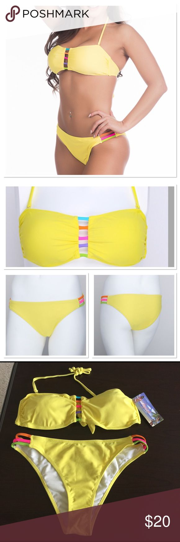 NWT gorgeous yellow bikini NWT beautiful yellow bikini with colorful front keyhole stripes in turquoise, orange, hot pink, purple and lime green. Bottom has cut out on sides with orange, hot pink and lime green. Top strap on bikini is removable so you can make it strapless. Top is medium, bottom is large. Stylish Swim Bikinis