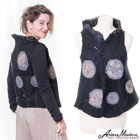 Wearable art nuno felted women vest Paris by ArianeMariane