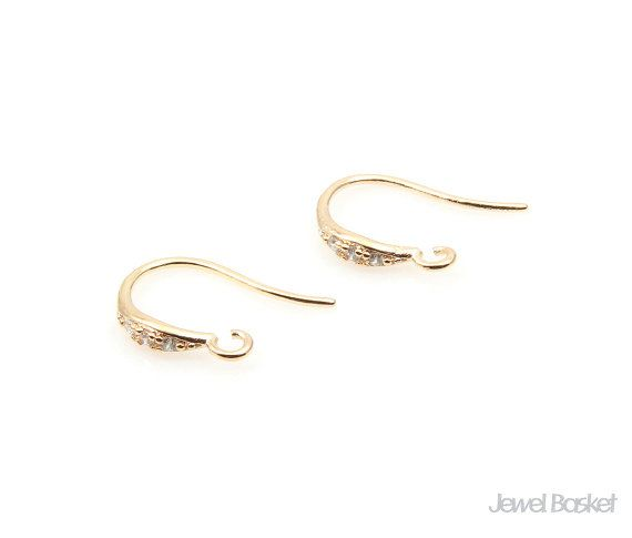 Gold Earhook with Cubic  - Gold Plated over Brass (Tarnish Resistant) - Brass / 10mm x 18mm - 4pcs / 1pack