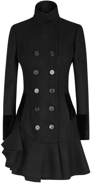 Alexander Mcqueen Black Ruffled Wool Felt Coat in Black