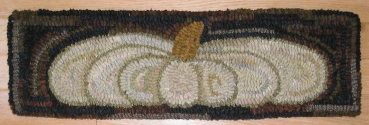 Hand Hooked Rug Early Style Primitive White Pumpkin Hooked Rug | eBay