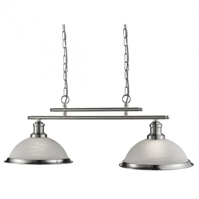 Bistro Satin Silver 2 Light Ceiling Bar Pendant With Acid Glass Shades