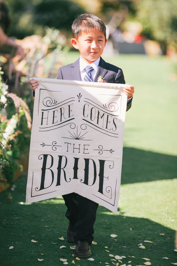 Here comes the bride signage