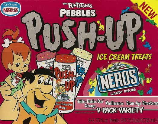 The Flintstones Push-Up with Nerds. | 19 Cartoon-Themed Foods And Snacks From The '90s You Might Not Remember: Childhood Memories, 90Skid, Flintstones Push Up, Cartoon Themed Foods, 90S Baby, 90S Food, Throwback, 90 S Childhood