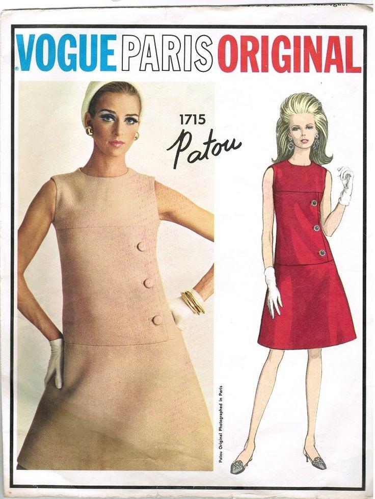 Vogue 1715 60s PATOU Vogue Paris Original DRESS Vintage Sewing Pattern with Label