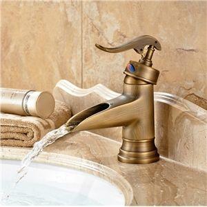 Uberlegen Bronze Wasserfall Centereingestellt Bad Waschtischarmatur Antik