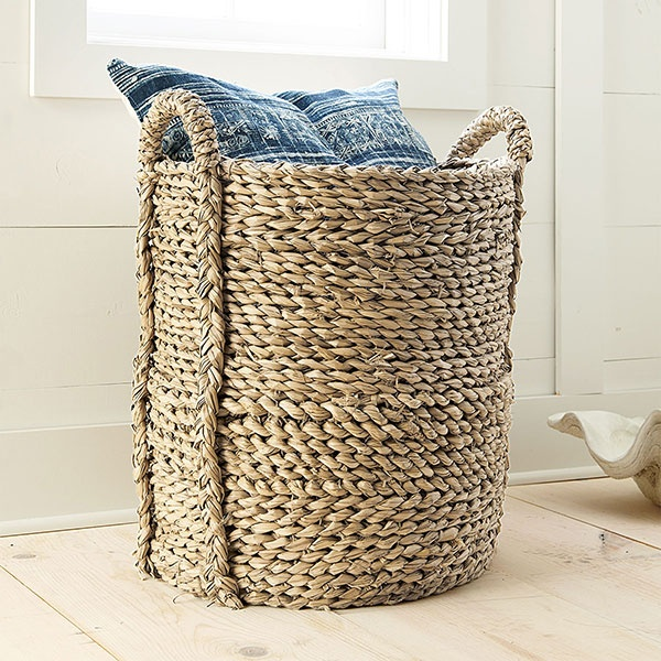 laundry hamper: Woven Baskets, Large Woven, Blanket, Baskets Storage, Seagrass Baskets, Laundry Baskets, Leaf Figs, Families Rooms, Woven Seagrass
