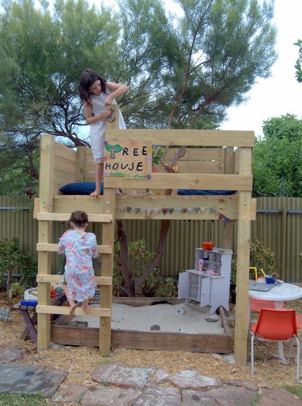 Recreate this with an old bunk bed frame turned into a climbing structure/shade/play house.