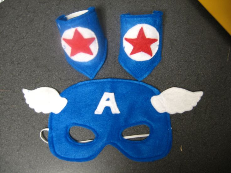 Felt Captain America mask and wrist cuff set by MissMask on Etsy. $8.00 USD, via Etsy.