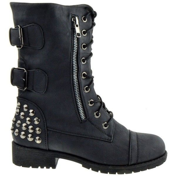 Amazon.com: Rider 83 Womens Military Lace up Studded Combat Boot:... ($43) ❤ liked on Polyvore featuring shoes, boots, ankle booties, studded boots, military combat boots, laced booties, army military boots and lace up ankle booties