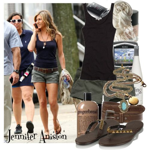 Jennifer Aniston style: Army Green, Casual Style, Jennifer Aniston, Jennifer Anniston, Summer Style, Casual Summer Outfits, Aniston Style, Style Icons, Green Shorts