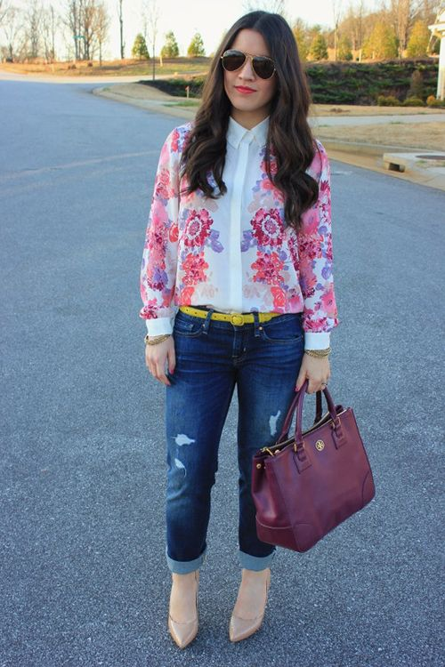 love a floral blouse with a pop of color