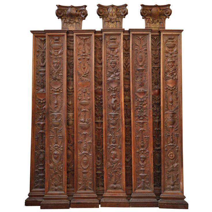 Ten Walnut Neo Renaissance Style Pilasters, 19th Century