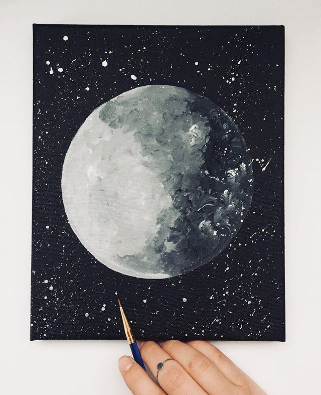 Abigail Moya @abbazabacreates Moon Acrylic Painting Canvas (With