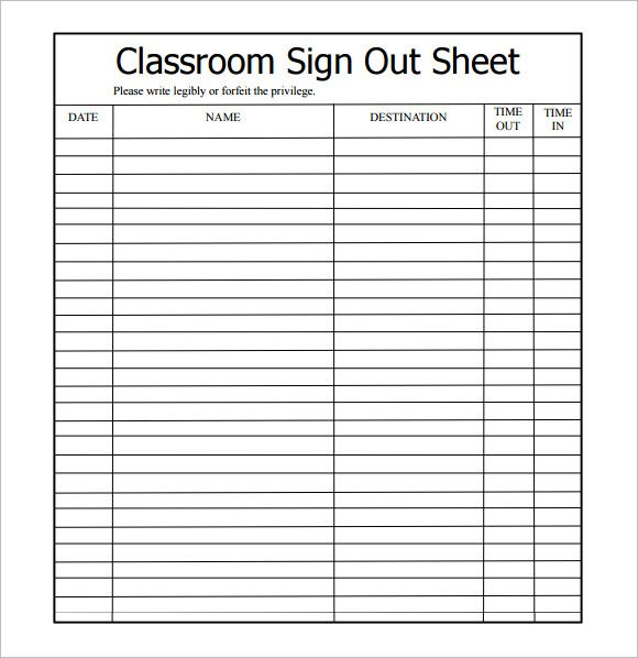 Image result for check in sheet examples