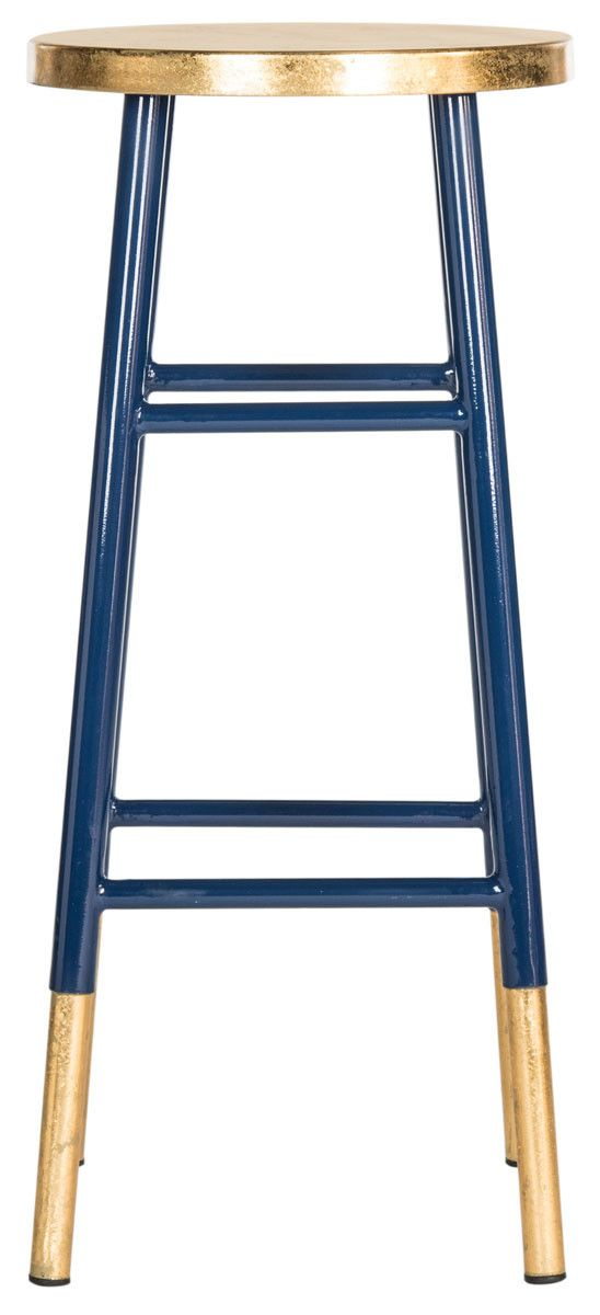 A colorful addition to a kitchen island or family room bar, this timeless barstool is spruced up with a combination of navy blue lacquer and gold trim on leg caps and seat. This sturdy classic is craf