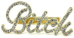 """X-large 3.25"""" Wide Bling Clear Ice Austrian Crystal Embellished Gold Cassie Bitch Knuckle Ring - Three Finger Band Rings by Glamour Girl Gifts. $25.99"""