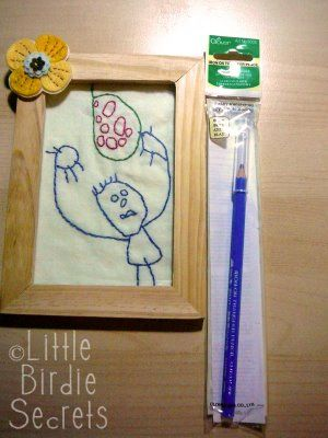 Embroider your Child's artwork. What a great idea!Childhood Memories, Interesting Artworks, Cute Ideas, Canvas, Child Artworks, Birdie Secret, Auction Projects, Kids Artworks, Art Walls