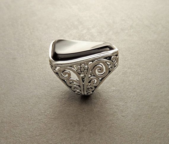 Boho Silver Filigree Ring with Onyx  Sterling Silver by KRAMIKE