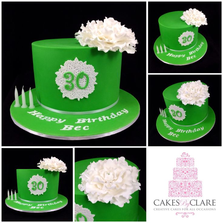 Green 30th birthday cake