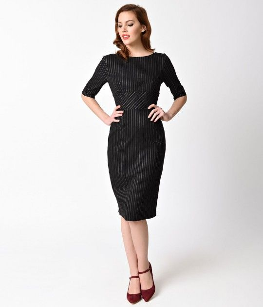 Frame it with pinstripe, darling. The Vintage Style Hepburn Pencil Dress from The Pretty Dress Company is created in a ravishing black with white pinstripes throughout. This sultry wiggle design holds you in and pushes you up with a wide banded waist and