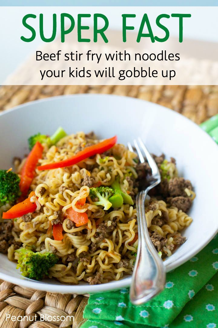 Easy beef stir fry with noodles is the perfect place to add veggies your kids will love. Only 6 ingredients and comes together in under 20 minutes, this is one of the fastest weeknight dinner recipes ever. Save this for when you need picky eater recipes!!