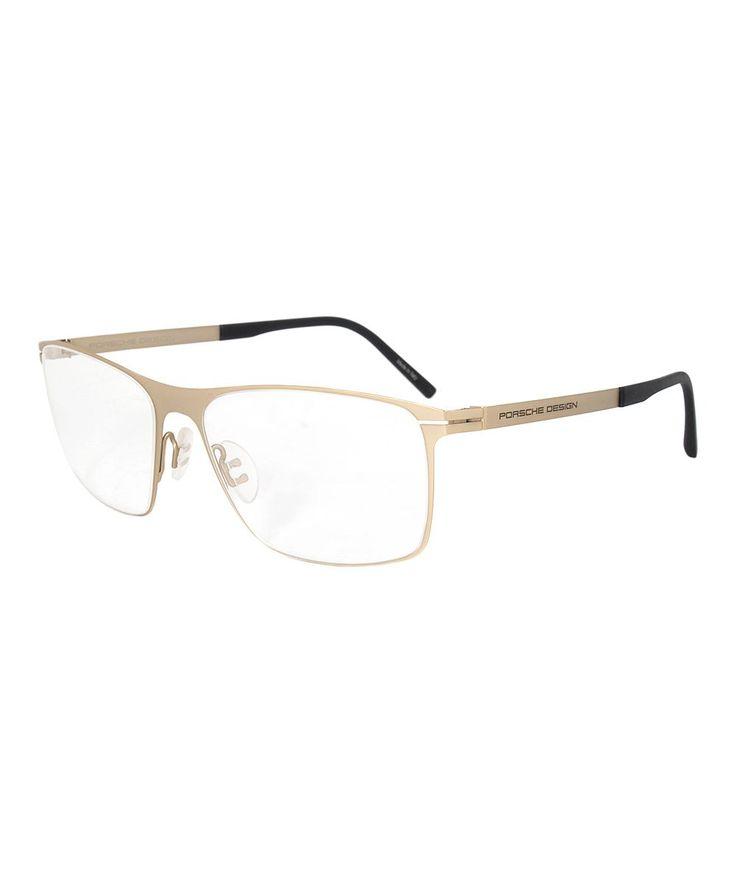 Matte Gold & Titanium Rectangle Eyeglasses