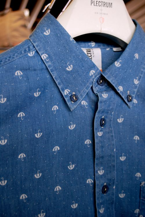 Repeat micro prints on chambray button downs were a stand out trend at todays #projectny  menswear tradeshow seen here at Plectrum by Ben Sherman @Ben Silbermann Sherman WGSN shot, New York