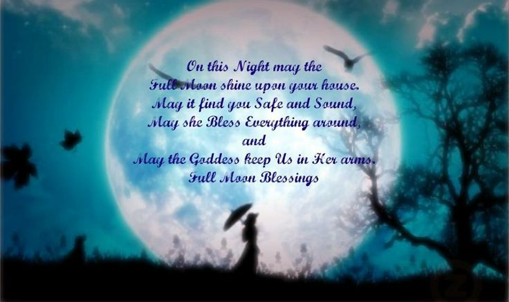 On this Night may the Full Moon shine upon your house.  May it find you Safe and Sound, May she Bless Everything around, and May the Goddess keep Us in Her arms.  Full Moon Blessings.