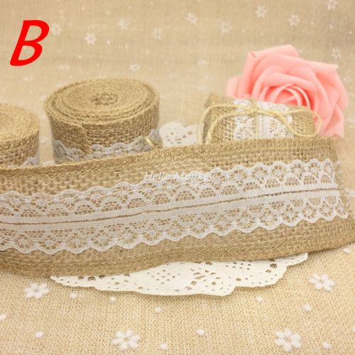 2meters Natural Jute Burlap Hessian Ribbon with Lace Trims Tape Rustic Wedding Decor wedding cake topper decoration mariage