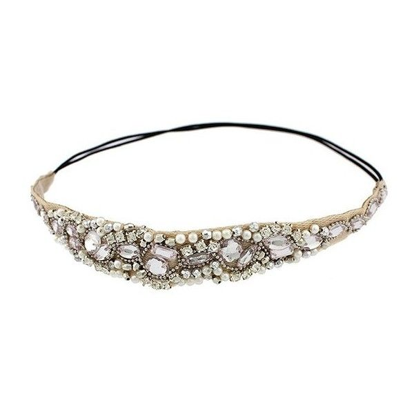 Elegant Rhinestoned Beading Lace Headband For Women ($7.77) ❤ liked on Polyvore featuring accessories, hair accessories, beaded headband, beaded hair accessories, rhinestone headbands, rhinestone hair accessories and hair band headband
