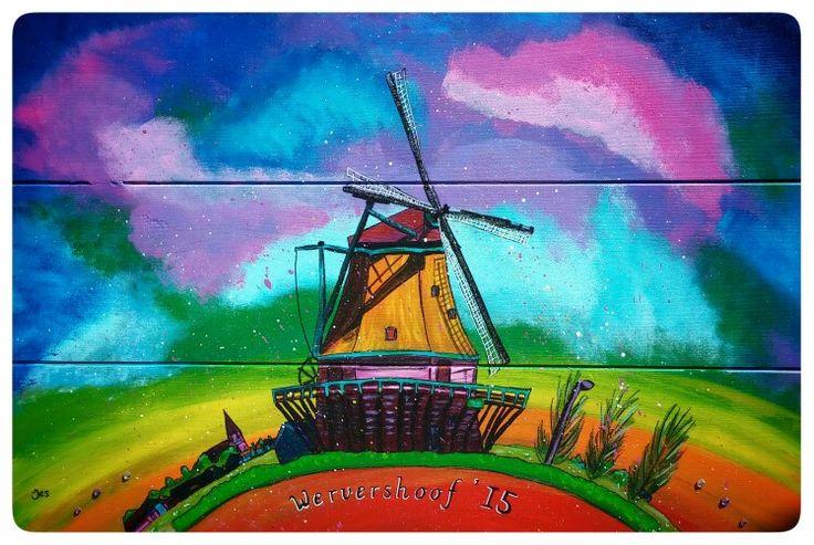 Tuinschilderij schilderij Molen de Hoop Wervershoof 60x80cm Op hout geschilderd Www.creativeartbyjessica.nl