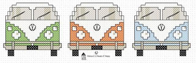 Borduurpatroon (kruissteek) Volkswagen T1 - Fimo- en ander creatief gefröbel