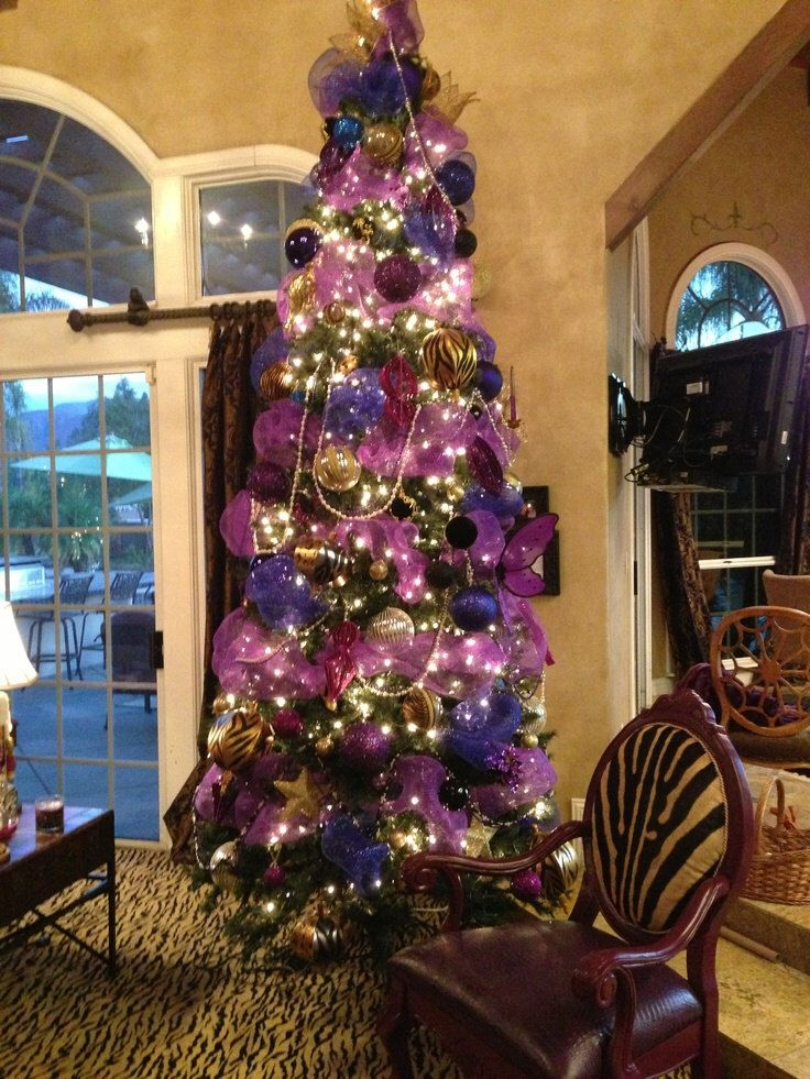 Christmas Purple Tulle Ribbon Garland Ornament Tree Decor ...