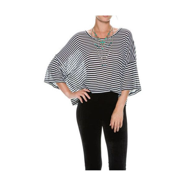 Black&White Classic Stripe Loose Batwing T-Shirt 15TS00125 (22 CAD) ❤ liked on Polyvore featuring tops, t-shirts, multicolor, black and white stripe t shirt, loose fit t shirts, loose t shirt, black and white striped t shirt and black white stripe tee