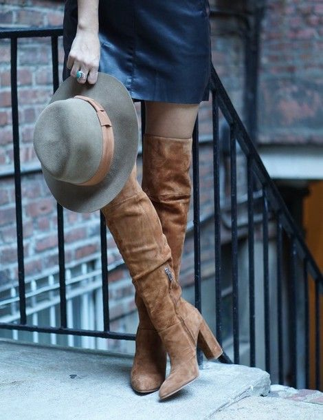 Shoes: my style pill blogger skirt hat over the knee boots suede boots felt hat fall accessories