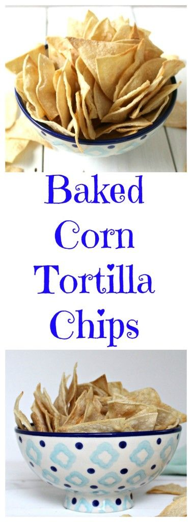 Healthy snack made with corn tortillas. Baked Corn Tortilla Chips.