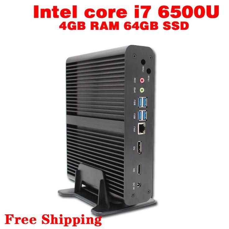 Mini PC Core i7  6500U Max 3.1GHz  4GB RAM 64GB SSD Micro PC HTPC Windows10, Linux  Intel HD Graphics 520 TV BOX usb 3.0