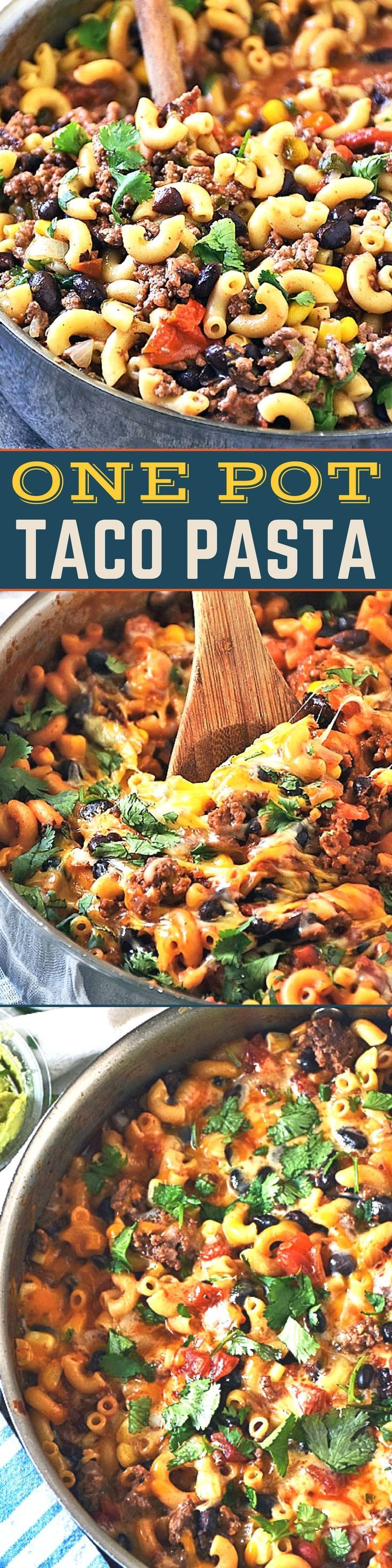One Pot Taco Pasta Skillet is a simple meal you can cook any night of the week and the whole family will LOVE it! Loaded with all the Mexican inspired flavors of a classic taco, this cheesy One Pot Taco Pasta is comfort food goodness ready in just 30 minutes! Perfect to feed your game day crowd too! #GameDayRecipes #PastaRecipes #30MinuteMeal #EasyRecipes #MexicanFood #SundaySupper