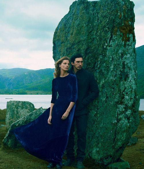 """Daria Werbowy and Adam Driver in """"Wild Irish Rose"""" by Annie Leibovitz forVogue, September 2013"""