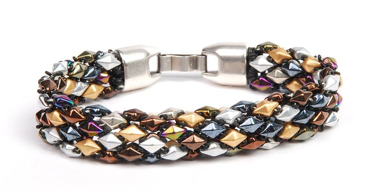Free Bead Weaving Instructions at BeadingDaily.com. Weave DiamonDuo and Demi Round beads to create a flexible, dynamic, bead woven bracelet design.