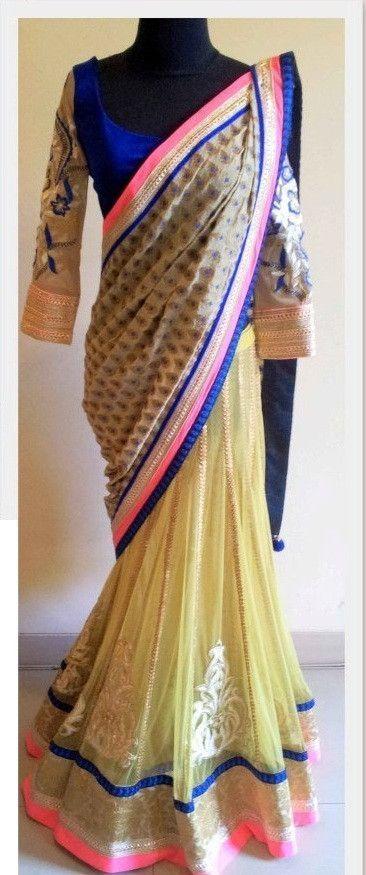 Beautiful lemon yellow color lehenga saree