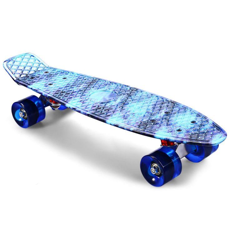 22 inch CL-94 Pencetakan Pola Berbintang Langit Biru Skateboard Skate Board Skateboard Lengkap Retro Cruiser Longboard