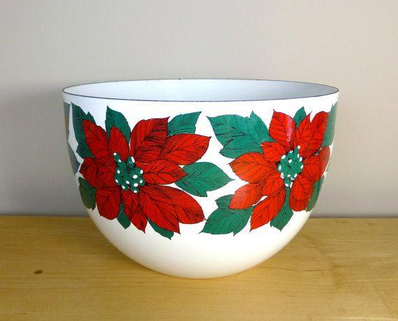Kaj Franck Finel Arabia Finland Enamel Bowl with Poinsettia Design by TheGreenFinch, $110.00 #midcenturymodern