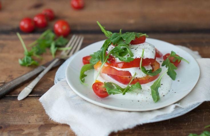 Heirloom Tomatoes with Lemon Ricotta and Arugula