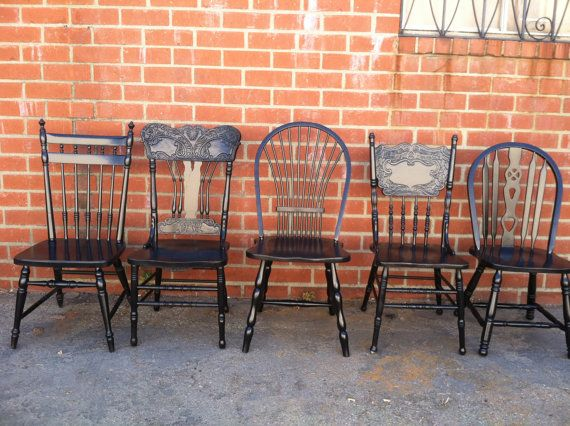 SET OF 4, Black Vintage Dining Chairs, Mismatch, Restaurant Chairs, Farmhouse ,Spindle Chairs, Kitchen Chair (Los Angeles)