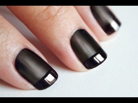 manucure ongles noirs: top coat brillant et mat