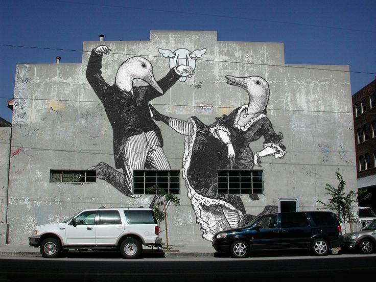 Aylesbury Duck Wall Mural, Dancing Ducks, South LA. By United Creatives.